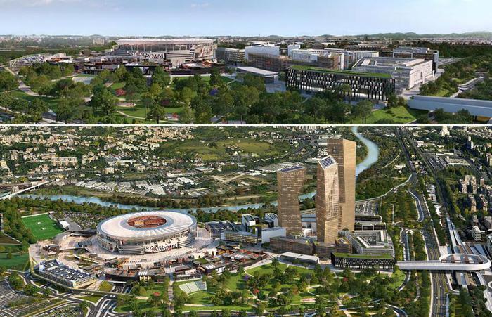 Confronto rendering progetti nuovo stadio AS Roma